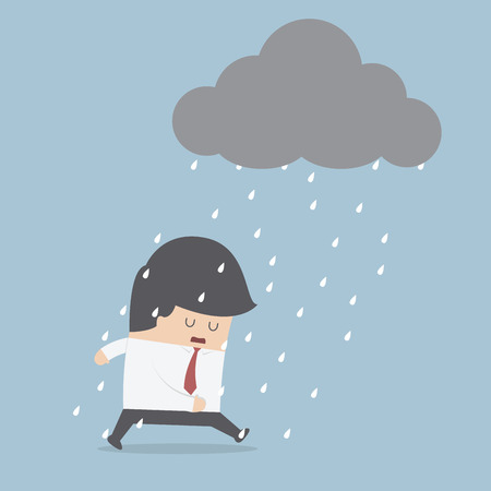 uomo sotto la pioggia: Uomo d'affari depresso camminare sotto la pioggia, VECTOR, EPS10 Vettoriali