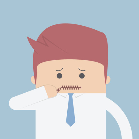 zipped: Businessman zipped his mouth, Inarticulate concept, VECTOR, EPS10