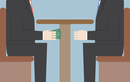 corruption: Two Businessmen Passing Money Under the Table, Bribery, Corruption Concept, VECTOR, EPS10