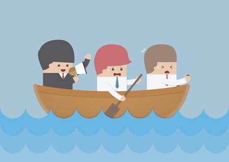 barco caricatura: Equipo de remo del hombre de negocios, trabajo en equipo y Liderazgo concepto, vector, EPS10