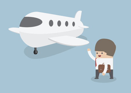 private jet: Businessman with baggage walking towards private jet, VECTOR, EPS Illustration