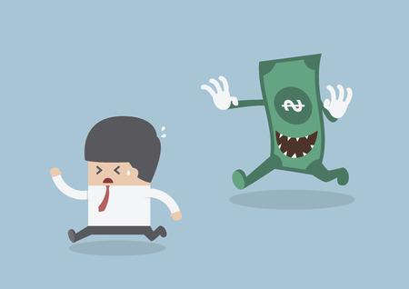 Businessman running away from the money monster, VECTOR, EPS10