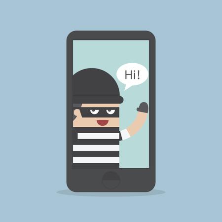 spyware: Hacker, Ladr�n de Hacking Smartphone, concepto de negocio, vector, EPS10 Vectores