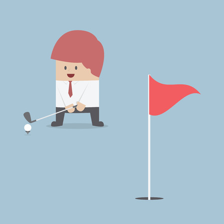 vector eps10: Businessman playing Golf, VECTOR, EPS10 Illustration