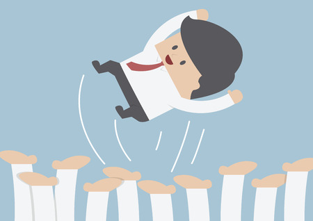 Businessman being throwing up by his team, Success concept, VECTOR, EPS10