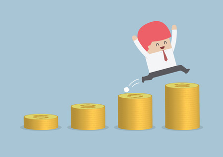 Happy businessman jumping on the money step, VECTOR, EPS10 Imagens - 34892750