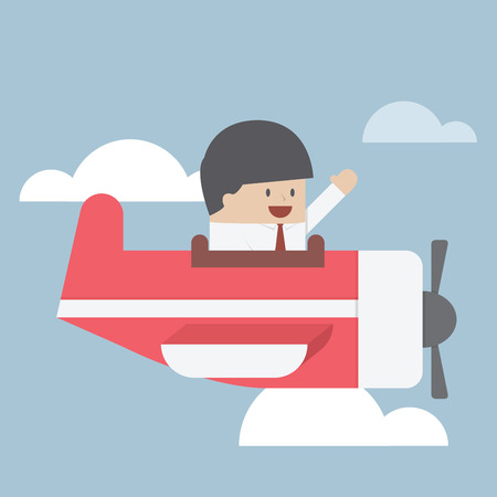 private jet: Businessman flying with private jet