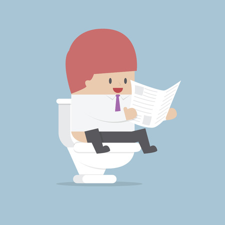 Businessman reading a newspaper in the toilet Vector