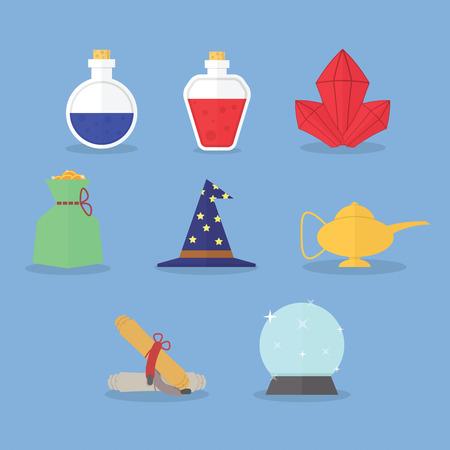magic lamp: Set of magic icons Illustration