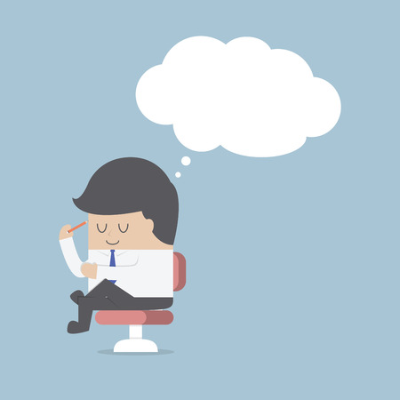 thinking person: Businessman is thinking while sitting on the chair Illustration