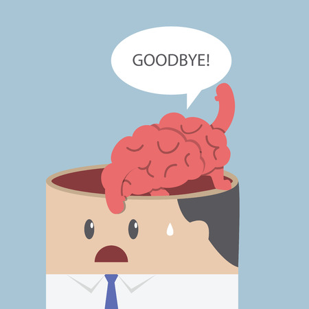 goodbye: Brain say goodbye and go out of businessman head, VECTOR, EPS10
