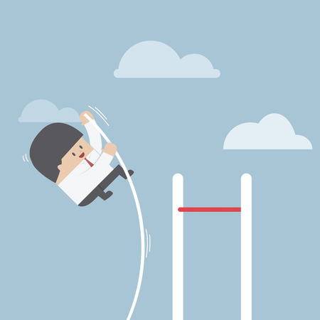 pole vault: Businessman doing the pole vault, VECTOR, EPS10