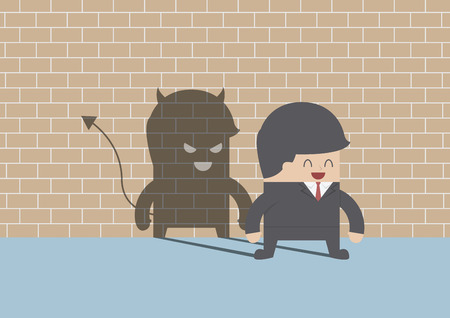 devil cartoon: Devil shadow behind smiling businessman, VECTOR, EPS10