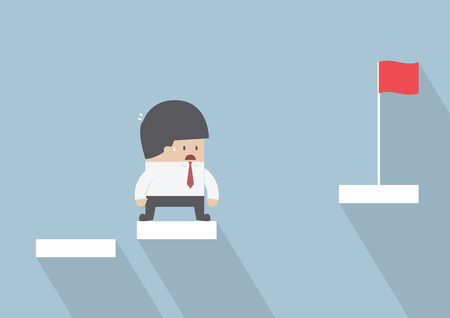 Businessman facing with the missing step to success, VECTOR, EPS10