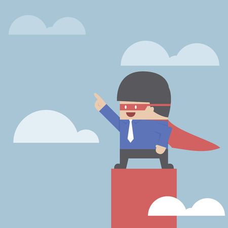 Super businessman standing on the top of the graph, VECTOR, EPS10