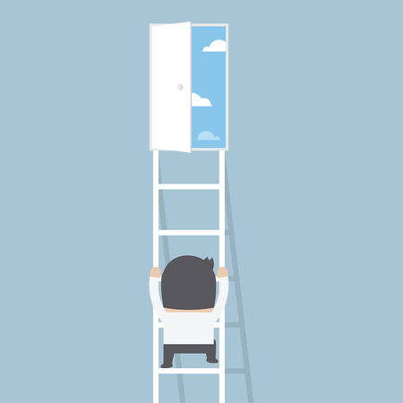 Businessman climbing ladder to the door of freedom, VECTOR, EPS10