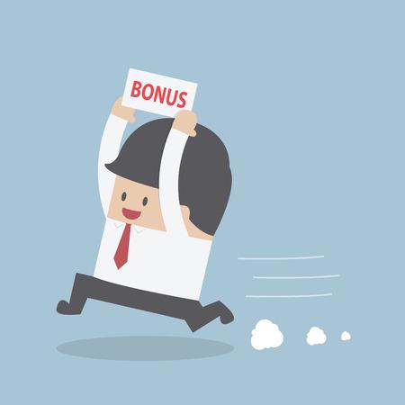 Businessman is happy because he got bonus money, VECTOR, EPS10