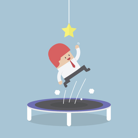 trampoline: Businessman trying to catch the star by jumping on trampoline, VECTOR, EPS10