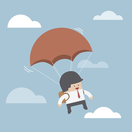 Businessman is flying with parachute, VECTOR, EPS10 Vector