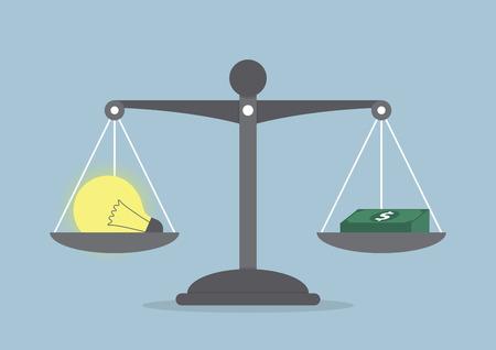 balanza en equilibrio: Ideas Bombilla y balance del dinero en la escala, VECTOR, EPS10 Vectores