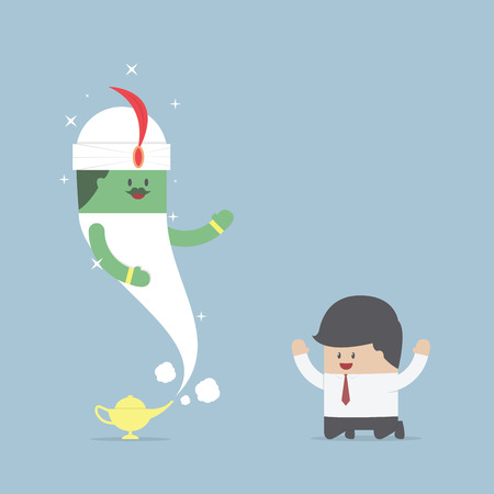 Businessman and genie giant in the magic lamp, VECTOR, EPS10 Vector