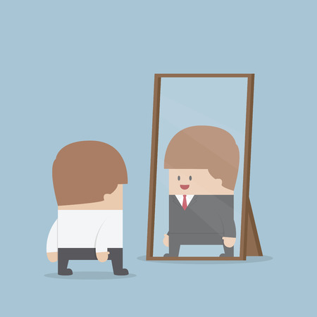 businessman smiling: Businessman see his successful future in the mirror, VECTOR, EPS10