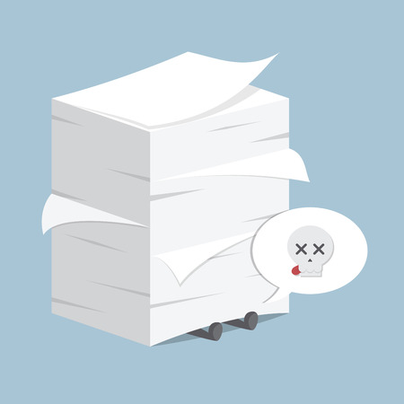 stack: Businessman under the stack of paper, VECTOR, EPS10