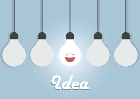 idea lamp: Hanging light bulbs with glowing one, Bright idea concept