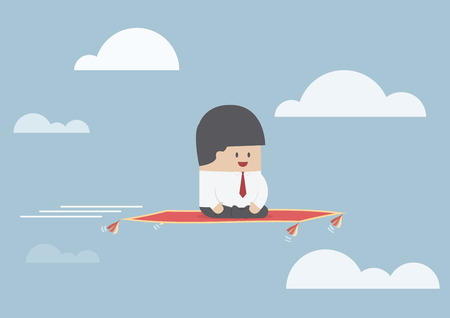 Businessman sitting on the flying carpet, VECTOR, EPS10 Ilustração