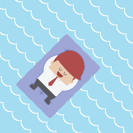 Relaxed Businessman Floating on Pool Raft, VECTOR,  向量圖像