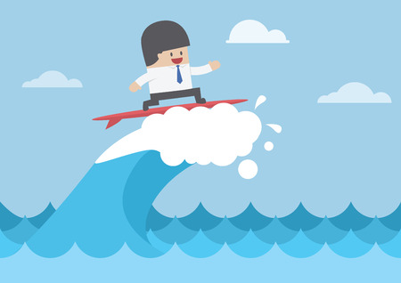 waves: Businessman surfing on wave, Business concept, VECTOR,
