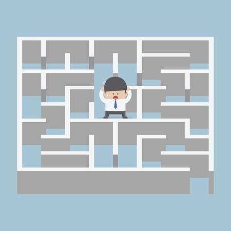 Businessman standing in center of the maze, VECTOR, Ilustração