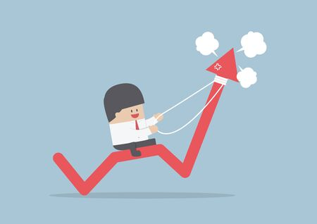 stock market graph: Businessman riding on angry stock market graph, VECTOR, EPS10