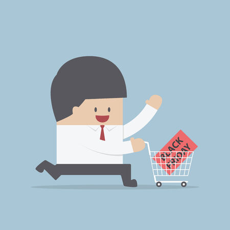 shopping cart isolated: Businessman and shopping cart with black friday sale label, VECTOR, EPS10