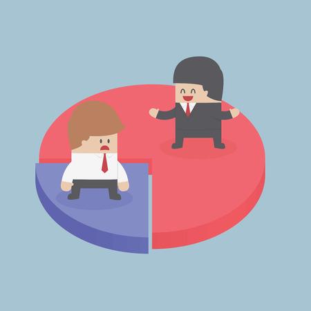 segment: Businessmen standing on chart, Market share concept, Illustration