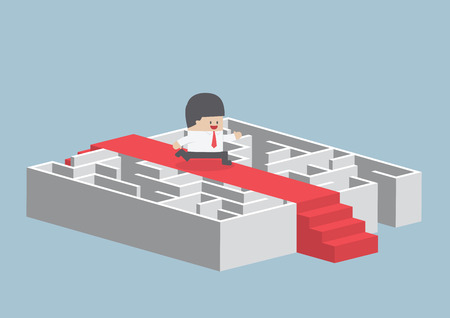 new way: Businessman running on the red carpet over the maze, Illustration