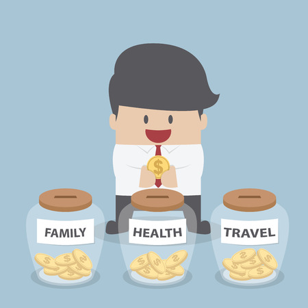 coins: Businessman putting coin into Family, Health, Travel bottle, Financial concept, VECTOR, EPS10