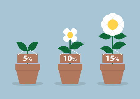 Interest rates and different size of flowers, Financial concept,
