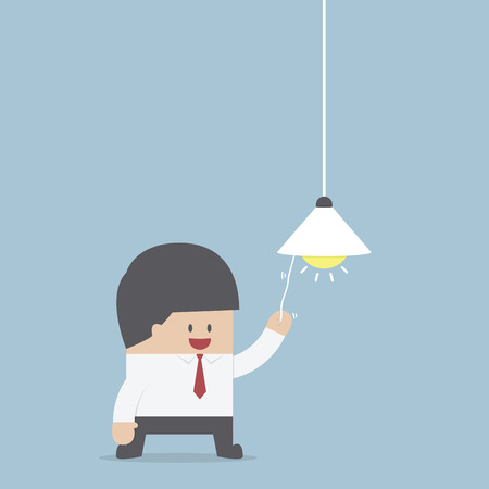 Businessman switching on light bulb, Idea concept, VECTOR, EPS10