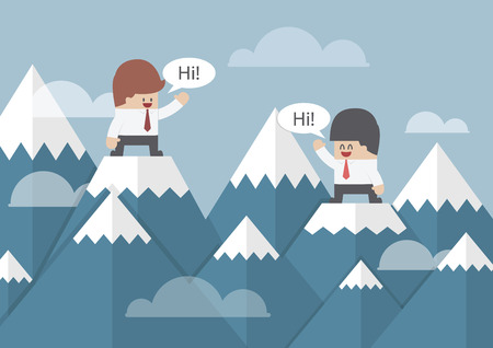 Two businessmen standing on the top of mountain, VECTOR, EPS10