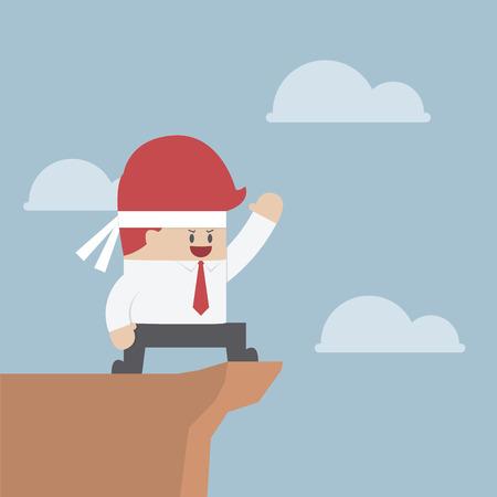Motivated businessman on the cliff, Motivation concept, VECTOR, EPS10 Illustration