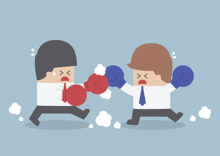 Two businessmen having a fight with boxing gloves, VECTOR, EPS10