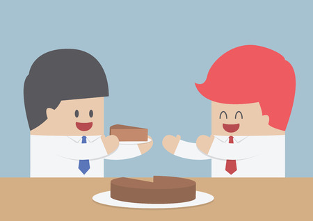 Businessman give a piece of cake to another, Market share concept, VECTOR, EPS10 Illustration