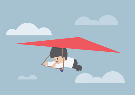 Businessman riding a hang glider, VECTOR, EPS10
