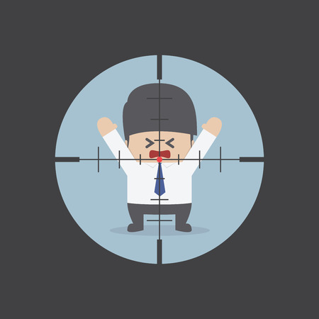sights: Businessman in the rifle sight, VECTOR, EPS10 Illustration