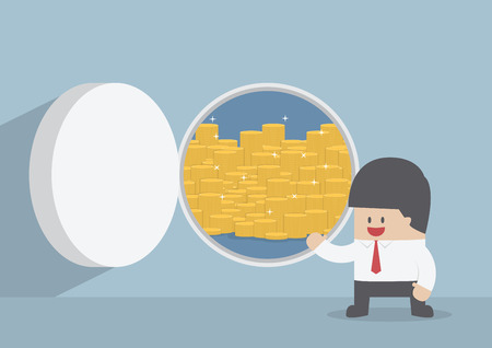 bank vault: Businessman and opened vault door with gold coins, VECTOR, EPS10