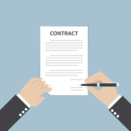 Businessman hand holding pen and signing business contract, VECTOR, EPS10 Stock Illustratie