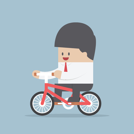 cartoon businessman: Businessman riding a bicycle to work, VECTOR, EPS10