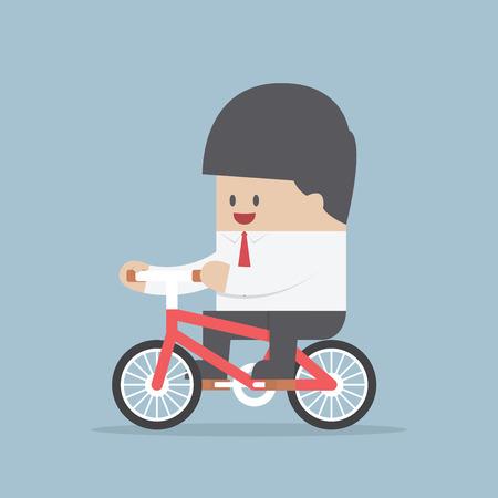 obrero caricatura: Empresario andar en bicicleta al trabajo, vector, EPS10 Vectores