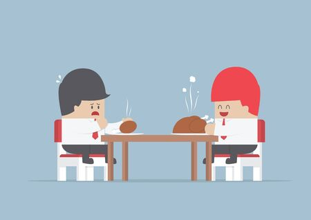 share market: Two businessmen sitting at dinning table with big and small piece of chicken, Market share concept, VECTOR, EPS10